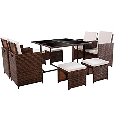 TANGKULA 9 PCS Black Patio Garden Rattan Wicker Sofa Set Furniture Cushioned W/Ottoman (Brown)