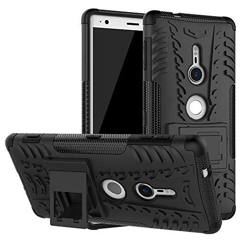 LiuShan Sony XZ2 Hülle, Dual Layer Hybrid Handyhülle Drop Resistance Handys Schutz Hülle mit Ständer für Sony Xperia XZ2 Smartphone(mit 4in1 Geschenk verpackt),Schwarz