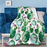 NIUJINMALI Pink Hearts-Wallpaper,Cactus Flannel Fleece Blanket Air Conditioning Quilt Super Soft Throw Home Bed Sofa Travel All Season S 50'x40' for Kids