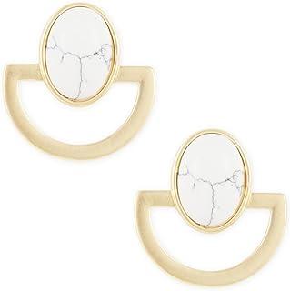 Karatcart Gold Metal White Turquoise Earrings for Women