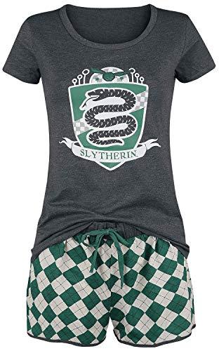 HARRY POTTER Slytherin Quidditch Mujer Pijama Verde-Gris L