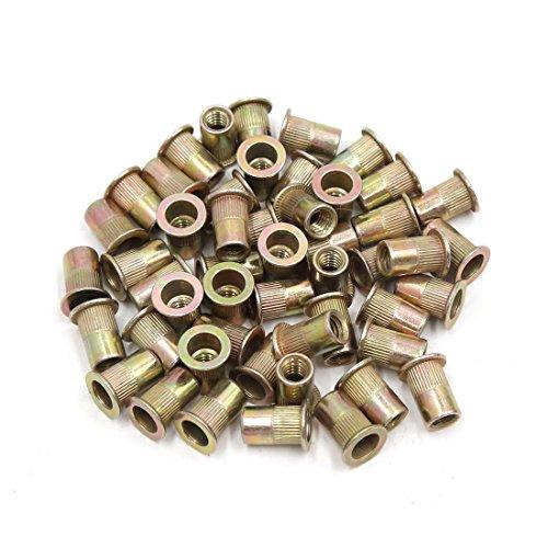uxcell 50Pcs Copper Tone Metal 1/4-20 UNC Rivet Nut Flat Head Insert for Car