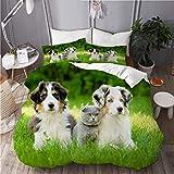 N2 Juego de Ropa de Cama Microfibra,Familia de Cachorros de Mascotas Lindas en el jardín Pastor Australiano y un Perro de Paisaje de Gato,1 Funda Nórdica y 2 Funda de Almohada (Cama 220x240)