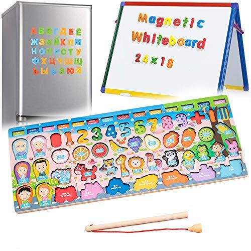 3 en 1 Aprender Numeros Magnéticos de Madera para Mujeres A Juegos Educativos Magnéticos para Niños Pequeños de 3 A 5 Años, Niños en Edad Preescolar, Niñas, Juguetes Educativos Con Letras, Alfabeto