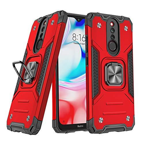 DASFOND Redmi 8/Redmi 8A Funda, Funda Protectora de Grado Militar para teléfono con Soporte de Anillo de Metal Mejorado [Soporte magnético] Compatible con Xiaomi Redmi 8/Redmi 8A, Rojo