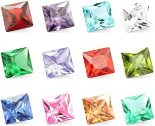 Pack of 24 5mm Cubic Zirconia CZ Square Birthstones 12 Month Floating Charms for DIY Locket Pendants Necklace Bracelets