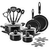 Chef's Star Ensemble de casseroles et poêles en aluminium anti-adhésif de qualité professionnelle 17 Piece noir
