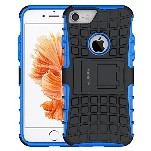 ALDHOFA Cover iPhone 7, Doppio Strato a Ibrida Phone Caso per Apple iPhone 7 -Blu