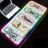 Juego Mouse Pads Anime Girl Rgb Gaming Mousepads Led Iluminación Grande Xxl Mouse Mat Pc Escritorio Teclado Mat 15.4x7.7 pulgadas