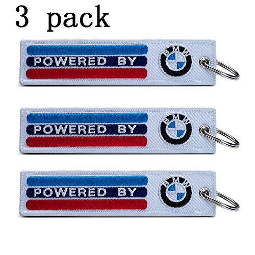 JIYUE 3Pack Embroidered Tag Car Logo Keychain Suit for BMW 1 3 5 6 Series X5 X6 Z4 X1 X3 X7 7 Series, M Key Chain Keyring Family Present for Man and Woman