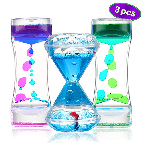 Sensory Liquid Motion Timer Bubbler Toy 3 Pcs. Set - Best Fidget Tool for Kids and Adults for Stress and Anxiety Relief and Relaxation, Pack of Calming Toy for Toddlers with Autism, Office Desk Decor