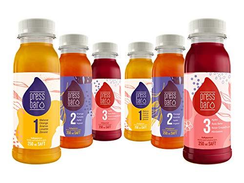 3 Tage Saftkur rot von pressbar München (18 Flaschen - 1,5 Lit/Tag). Kaltgepresste Säfte für Deine Kur. Hochwertige und geschmacksintensive Obst & Gemüse Säfte. Kühlware, nach Erhalt sofort kühlen!