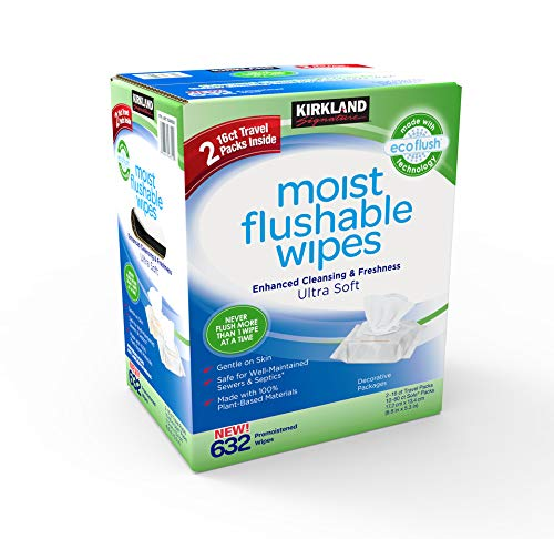 Kirkland Signature Moist Flushable Enhanced Cleansing & Freshness Ultra Soft Hypoallergenic Plant-Based Wipes - 632 Count