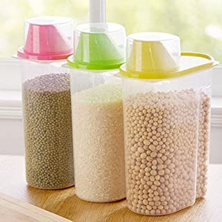 Inditradition Cereal & Food Grain Storage Container | Set of 3 Pcs, 1900 ml, Plastic