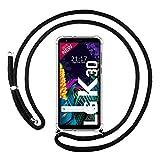 Funda Colgante Transparente para LG K30 con Cordon Negro