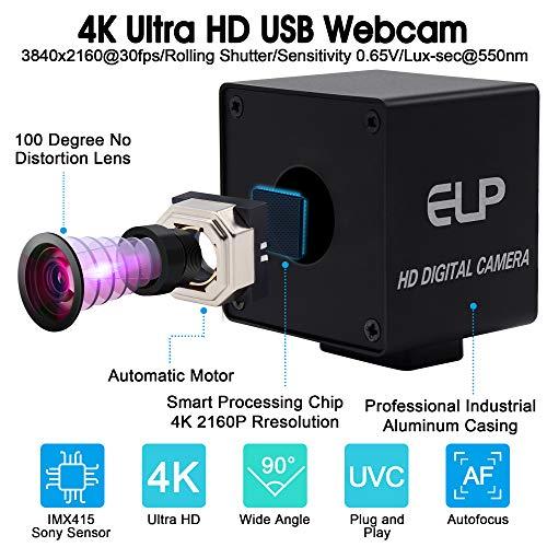 ELP 4K Hochauflösende Webcam Ultra HD Autofocus USB Kamera mit No-Distortion Objektiv,IMX415 Sensor Web Kamera Support 3840x2160@ 30fps,UVC Compliant Web Kameras Support Most OS (USB4K02AF-KL100)
