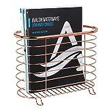 mDesign Revistero de metal – Práctico revistero de pie para revistas, libros y periódicos – Elegante cesta de metal para el baño – dorado rojizo