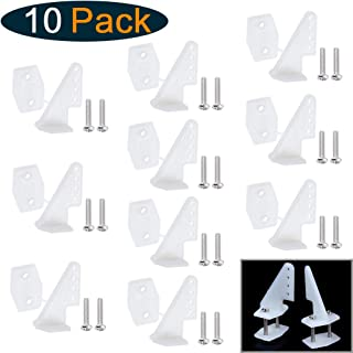 Hobbypark Nylon Control Horns W13×L18×H25mm T-Style with 4 Adjustment Positions and Screws for RC Plane Scale Models Accessories (Set of 10) (with Screws M2x10mm)