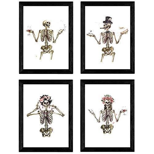Nacnic Set de 4 láminas Cuatro Esqueletos con Disfraces. Posters con imágenes de Calaveras. Tamaño A4 sin Marco