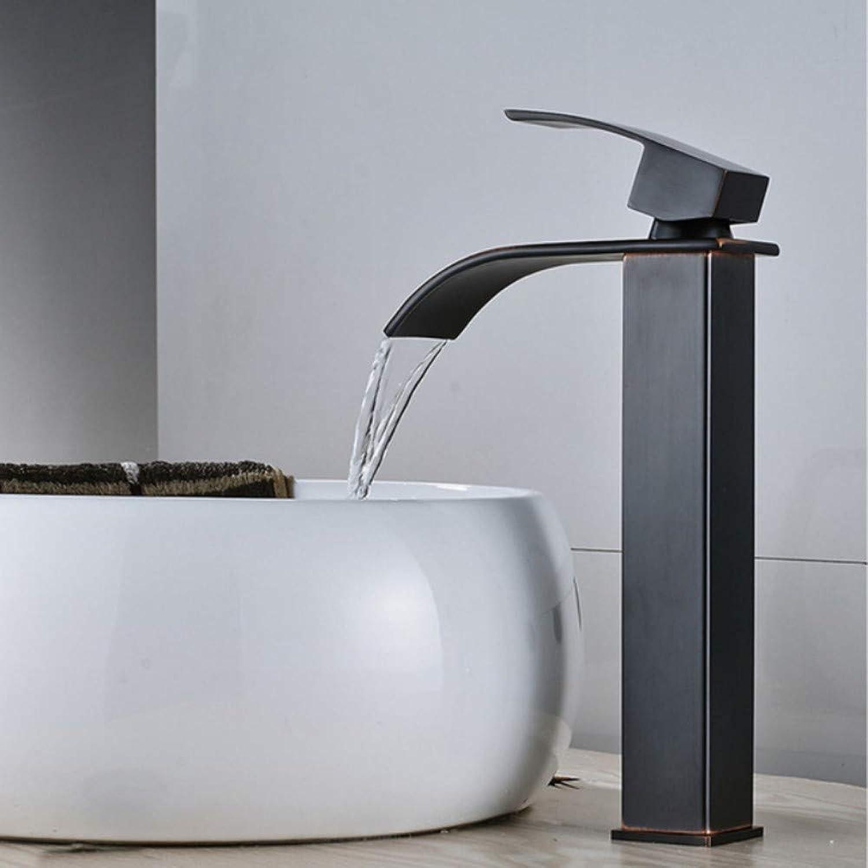 Lddpl Wasserhahn Waschbecken Wasserhahn Messing Warm und Kalt Deck Montiert Bad Wasserhahn Becken Wasserfall Nickel Schwarz Waschbecken Mischbatterie Einhand
