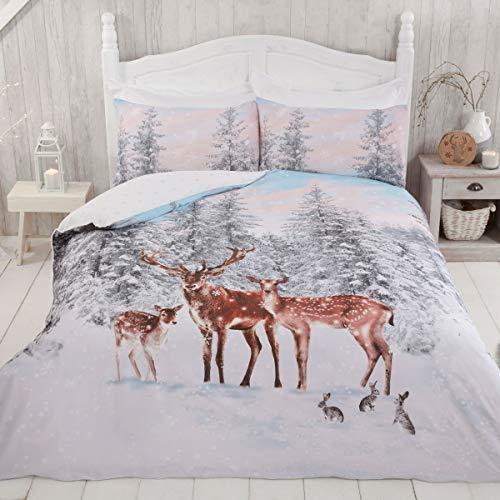 Sleepdown - Set copripiumino reversibile con motivo a fiocchi di neve, motivo natalizio e animali, motivo natalizio con fiocchi di neve, 220 x 230 cm, in policotone