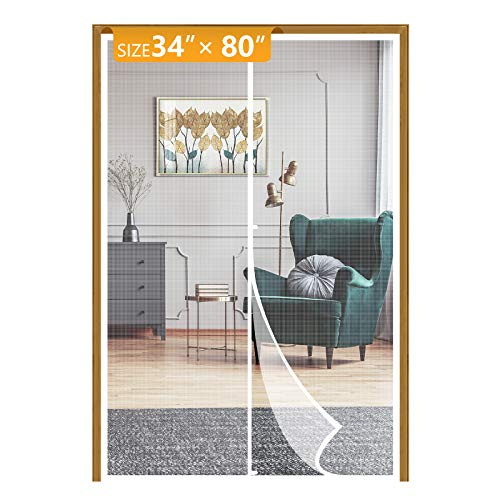 Yotache White Magnet Screen Door Curtain Fits Door Size 34, Mosquito Patio Screen for Doors Size Up to 34'W x 80'H High Transparent Hands Free Entry Great for Pet and Kid