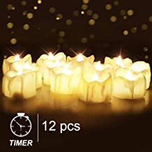 Homemory Flameless LED Tea Light Candles with Timer, Set of 12 Battery Operated Flickering Tealights for Halloween Pumpkin...