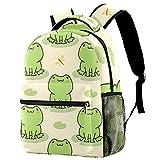 Cute Frog Casual School Backpack For Teen Girls Boys, Shoulder Bag For Men Women