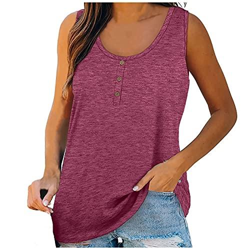 NAQUSHA Camiseta sin mangas para mujer, cuello con botones, estilo sexy, monocromático, para deporte, gimnasio, suelta Vino L
