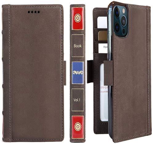 Schnail iPulse Sereis Kompatibel mit iPhone 12 Pro Max Echtes Leder Flip Hülle - [Kartenhalter Brieftasche] [Vollnarbenleder] [Folio-Cover] - Vintage Braun