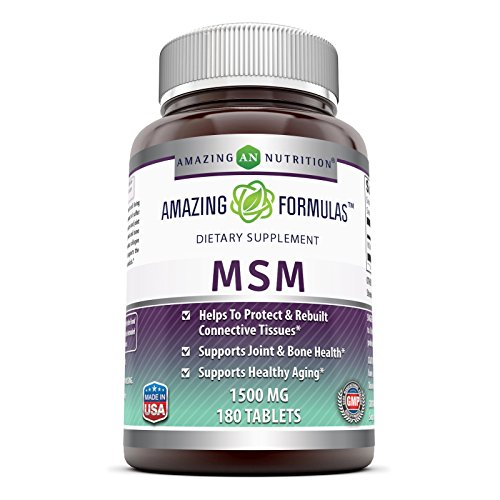 Amazing Formulas MSM (Methylsulfonylmethane) Dietary Supplement – 1500 mg - 180 Tablets Per Bottle- Promotes Joint Health, Detoxification, Supports Healthy Hair, Skin And Nails, Promotes Energy*