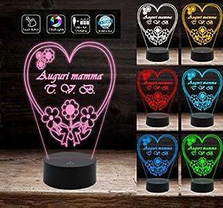 Lampada led 7 Colori CUORE personalizzata FESTA DELLA MAMMA Arredo casa HOME Decorazione della casa Night Light