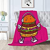 "Guhyapada Hamburger with Shoes Listening to Music Interesting Throw Blanket Flannel Soft Blankets All Season Lightweight Microfiber Luxury - for Sofa Bed and Living Room 50""x40"" Small"