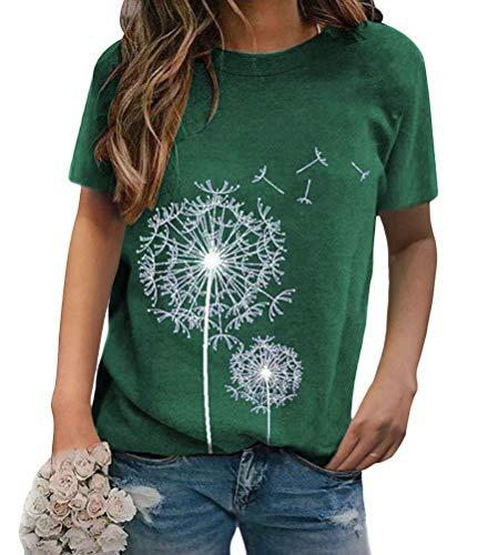 ORANDESIGNE Damen T-Shirt Pusteblume Bedrucktes T-Shirt Kurzarm Lose Bluse LäSsiger Rundhals Sommer Tops Oberteile C Grün XXL