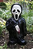 Horrorfilm Gartenzwerge, Albtraum Horror Gnom, Killer Gartenzwerg, gruselige untote Halloween-Skulptur Kampf Gnom Statue für Outdoor Garden Patio (Der Sensenmann)