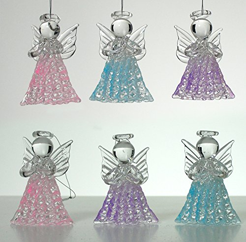 Set of 6 Spun Glass Angel Tree Decorations - Pink, Purple and Blue