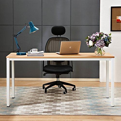 sogesfurniture Schreibtisch großer Computertisch PC Tisch Bürotisch Arbeitstisch Konferenztisch Esstisch aus Holz und Stahl, einfache Montage, 160x60x75cm, Teak & Weiß BHEU-AC3BW-160