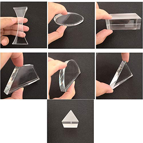 Optical Glass Lens and Prism Set 7 Piece