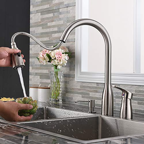 Hotis 3 Hole Pull Out Prep Sprayer Stainless Steel Single Handle Pull Down Kitchen Faucet, Sink Faucet Brushed Nickel Kitchen with Side Single Handle and Soap Dispenser