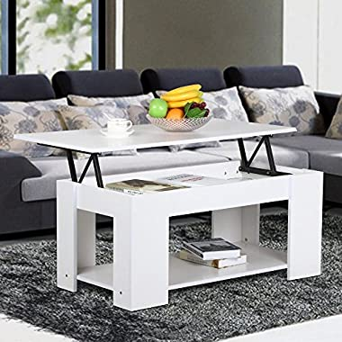Yaheetech Modern Grade E1 MDF & Iron Lift-up Top Tea Coffee Table w/Hidden Storage Compartment & Shelf White