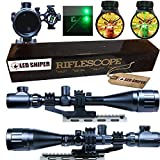 LED SNIPER Ledsniper 2 In1 6-24x50 Hunting Rifle Scope Mil-dot Illuminated Snipe Scope &+Tactical Green Laser Sight