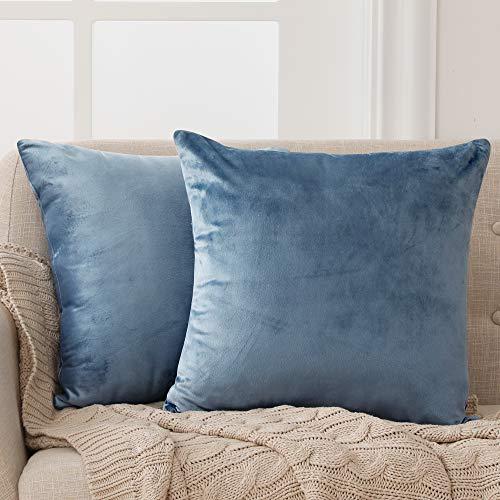 Deconovo Fundas para Cojines de Almohada del Sofá Cubierta Suave Decorativa Protector para Hogar 2 Piezas 45 x 45 cm Azul Gris