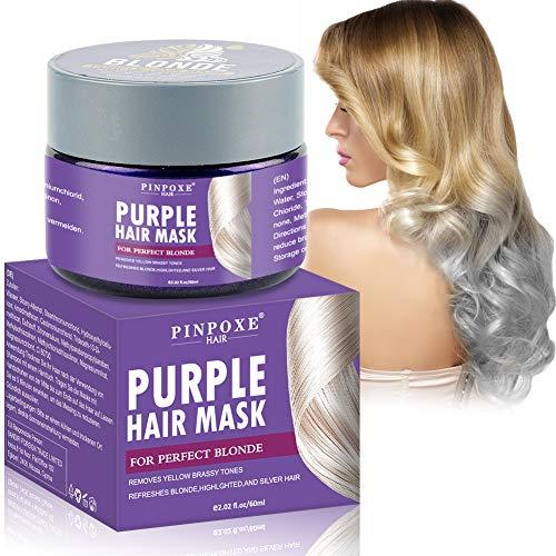 No-Yellow Mask, Purple Hair Mask, Anti Gelb Haarmaske, Silber Haarmaske für blondes und graues Haar und blondiertes Haar,intensive Haarpflege für trockenes,strapaziertes und geschädigtes Haar.