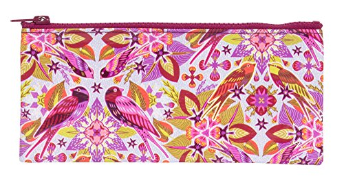 Blue Q Pencil Case, Six & A Half Birds. Hefty Zipper, Sturdy and Easy-to-Wipe-Clean, Made from 95% Recycled Material. Great for Organizing Larger Bags -- Store Makeup, Chargers, Receipts, Pencils and more. Measures 4.25'h x 8.5'w