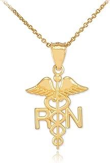 Polished 14k Yellow Gold Caduceus RN Charm Registered Nurse Pendant Necklace