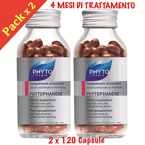 Phyto Phytophanere - Suplemento alimenticio para el cabello y las uñas - 4 meses de tratamiento - En cápsulas de 120 + 120