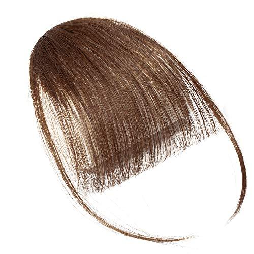 SEGO Frangia Capelli Veri Frangetta Clip Extension Sottile 100% Remy Human Hair Bang Clip Invisibile #4 Marrone Medio