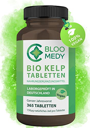 Bio Kelp Jod – 365 vegane Tabletten – 150µg natürliches Jod – Bio Braunalgen aus Frankreich – Laborgeprüft in Deutschland – Premium Sea Kelp Jahresvorrat – Jod Tabletten hochdosiert ohne Zusatzstoffe