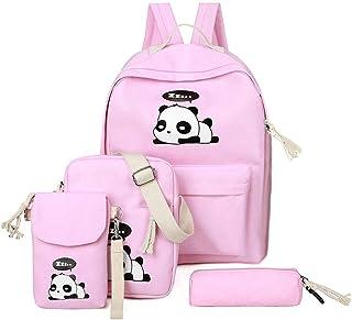 Huaaag 5 Panda Mochila Lindo Lienzo Escuela Mochila + Bandolera Bolsa + Bandolera + Teen Lápiz Caso Chica Chico, Lindo Panda Mochila Ligera Mochila (5 Colores),Pink