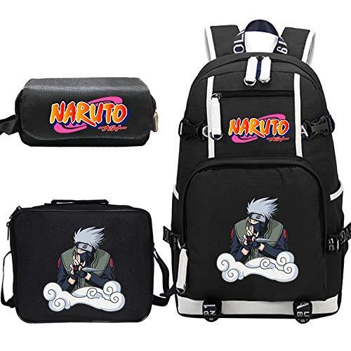 Woonn Anime Naruto Mochila Estudiante Escolar Grande Bolsa Almuerzo Estuche para Lápices